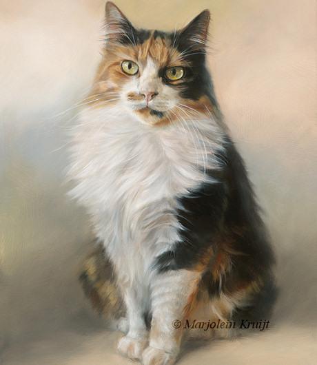 Kattenportret schilderij Cyperse kat door Marjolein Kruijt