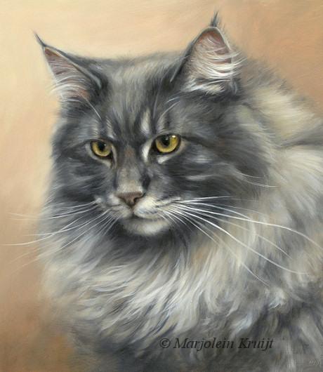 Maine coon portret schilderij in opdracht door Marjolein Kruijt - kattenkunst
