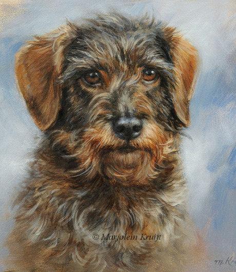 Portret schilderij Teckel Max door Marjolein Kruijt - dierportret