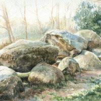 'Hunebed Diever', 30x17 cm, aquarel, (te koop)