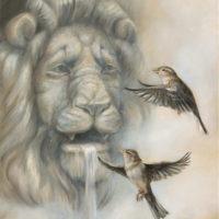 'Teasing the King' -mussen, 30x40 cm, olieverf, €1500 incl. lijst