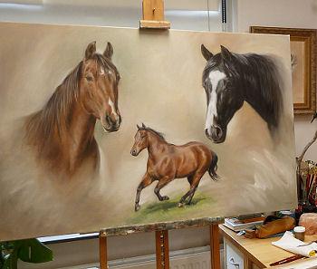 Paarden schilderij in opdracht portrettist Marjolein Kruijt paardenportret