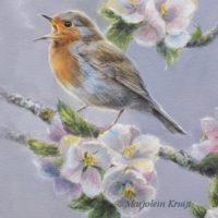 Schilderij roodborst in de bloesem door Marjolein Kruijt