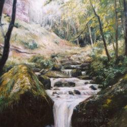 'Waterval Herisson', 100x120 cm, olieverf schilderij (te koop)