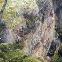 'Droge waterval bij Herisson', 70x100 cm, olieverf (NTK)