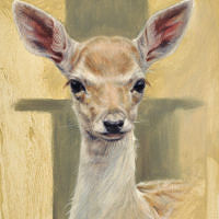 'Damhertje', 13x18 cm, olieverf schilderij (NTK)