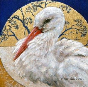 'The gift of the white stork - Ooievaar, 20x20 cm, olieverf en goud (verkocht)