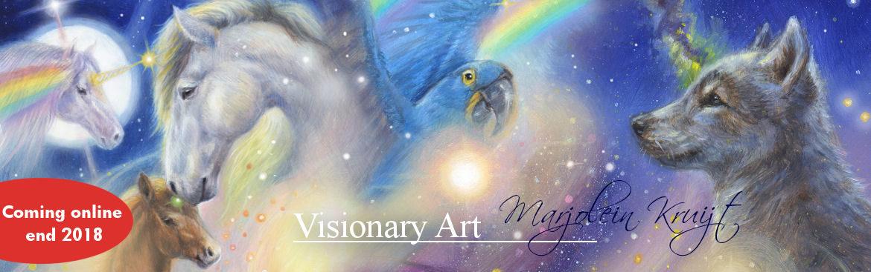 Visionary spirituele kunst, eenhoorns, krachtdieren, dierensymboliek door Marjolein Kruijt