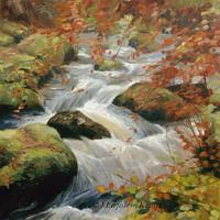 'Becky falls'-waterval, 60x60 cm, olieverf schilderij (NTK)
