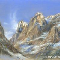 'Zwitserse bergen', ca 30x24 cm, pastel, (te koop)