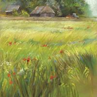 'Zomer' -boerderij, 22x29 cm, pastel, €680 incl. lijst