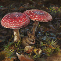 'Bosmuis', 20x20 cm, olieverf schilderij (verkocht)