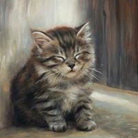 'Dromenland'-kitten, 18x24 cm, olieverf schilderij (verkocht)