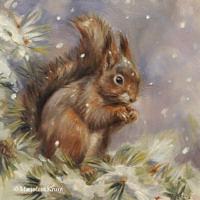 'Eekhoorn in de sneeuw', 20x20 cm, olieverf schilderij (verkocht)