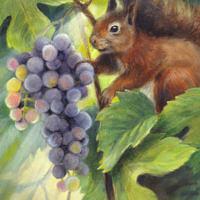 'Eekhoorn met druiven', 18x24 cm, olieverf schilderij, €950 incl. lijst