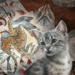 'Nebamuns tale' -Egyptische mau, 60x40 cm, olieverf (verkocht)
