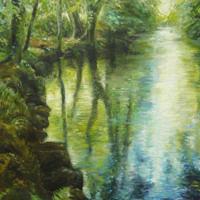 'Pond In Devon', 60x80 cm, olieverf (verkocht)