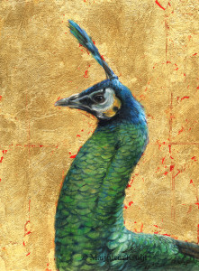 'Groene pauw', 18x24 cm, olieverf schilderij met goud N/A