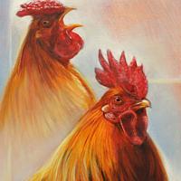 'Hanen', 24x18 cm, olieverf schilderij, €900 incl. lijst