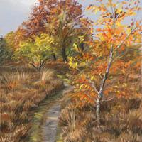'Herfst op de heide', ca 25x30 cm, pastel, €680 incl. lijst