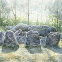 'Hunebed I'-Drenthe, 16x16 cm, aquarel schilderij, (te koop)