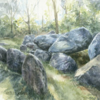 'Hunebed II'-Drenthe, 16x16 cm, aquarel schilderij, (te koop)