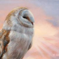 'Morning glory'-kerkuil, 40x25 cm, olieverf schilderij, €1500 incl. lijst