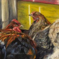 'Kippen', 24x18 cm, olieverf schilderij, €950 incl. lijst