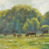 'Koeien'- en plein air, 20x20 cm, olieverf schilderij (NTK)