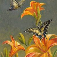 'Koninginnepages op lelies', 18x24 cm, olieverf schilderij, € 950 incl.lijst