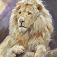 'Witte leeuw', 18x24 cm, olieverf schilderij, €850 incl. lijst
