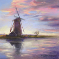 'Zonsondergang bij de molen', 30x30 cm, pastel, €750 incl. lijst