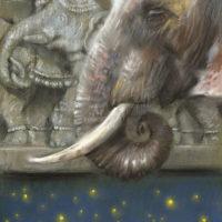 'Herinneringen' - indische olifant, 22x29 cm, pastel, €650 incl. lijst