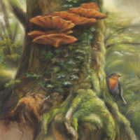 'Magic Tree' -Roodborstje, 47x67 cm, pastel, €2200 incl. lijst