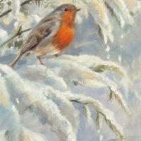 'Roodborstje in de sneeuw ', 15x20 cm, olieverf schilderij (verkocht)