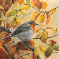 'Roodborst in de herfst', 18x24 cm, olieverf schilderij, €950 incl. lijst
