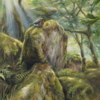 'Enchanted woods'- Roodborstje, 30x40 cm, olieverf, €1500 incl. lijst