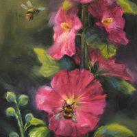 'Stokrozen en hommels', 13x18 cm, olieverf schilderij, €750 incl. lijst