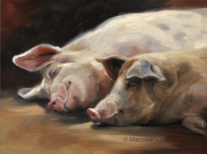 boerderijdieren schilderijen van marjolein kruijt