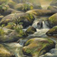 'Waterval', 30x24 cm, olieverf schilderij, (te koop)