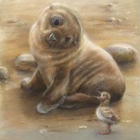 'Zeeleeuwtje en jonge stern', 20x23 cm, pastel (verkocht)