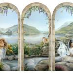 muurschildering schotland met schotse collies en Eilean Donan Castle