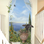 muurschildering zee toscane met buizerd en vogels