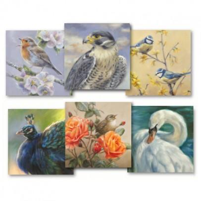 kunstkaarten 15x15 cm set vogels wildlife art marjoleinkruijt