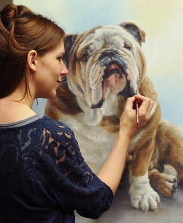 Marjolein Kruijt schildert dierenportretten in opdracht