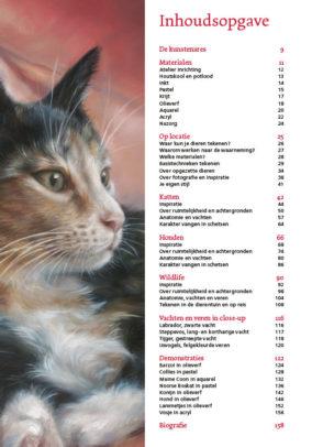 Inhoudsopgave boek dieren tekenen en schilderen DEEL 1- HERZIENE 5e druk extra dik Marjolein Kruijt