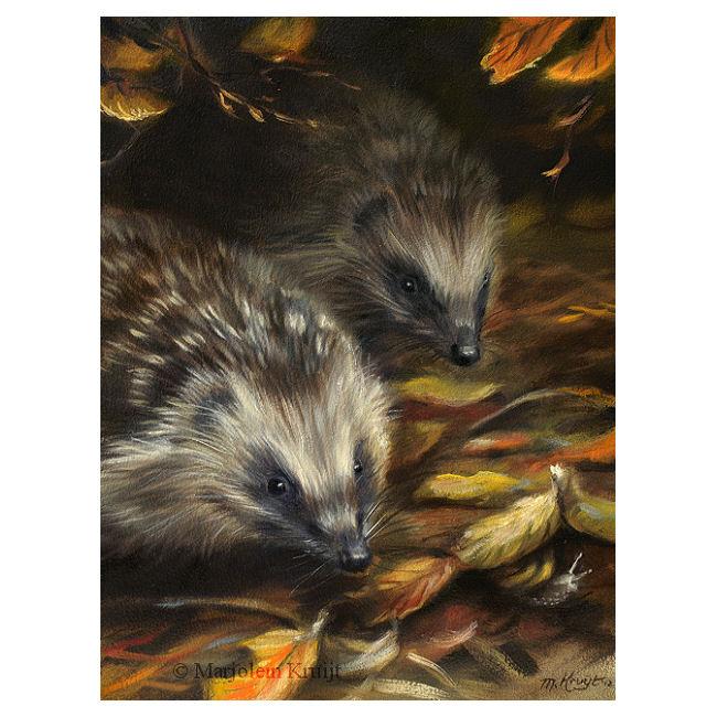 """Schilderij egels in de herfst """"Hide & Seek"""" door Marjolein Kruijt (te koop)"""