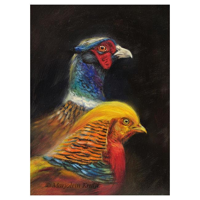 Schilderij fazant en goudfazant door Marjolein Kruijt (te koop)