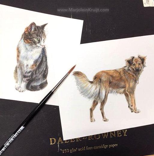 Miniatuur portretten in opdracht kat en hond, Marjolein Kruijt