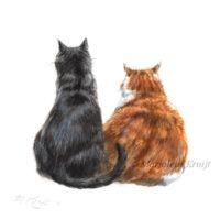 'Twee katten samen', 10x10 cm, Marjolein Kruijt (verkocht/opdracht)